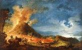 Ausbruch des Vesuv mit Schaulustigen im Vordergrund