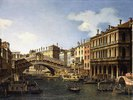 Die Rialto Brücke in Venedig von Süden mit der Einschiffung des Prinzen von Sachsen während seines Besuchs