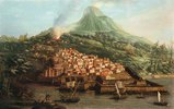 Eine Vulkaninsel mit einem Hafen und Schiffen