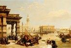 Blick auf die Basilica di San Marco, gesehen von der Punta Della Dogana in Venedig