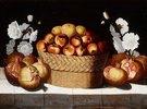 Äpfel in einem Weidenkorb, Granatäpfel und Malven auf einem Sims
