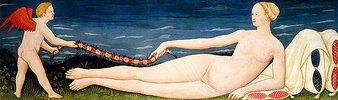 Venus an Kissen gelehnt, eine Blumengirlande haltend