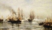 Der Empfang der französischen Fregatte Isère in der Bucht vor New York am 20. Juni