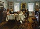 Die Familie des Künstlers am Frühstückstisch