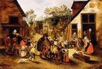 Ein blinder Leierkastenmann umgeben von Dorfkindern