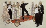 Eine Gruppe von Damen und Herren in Abendgarderobe, einem Sprecher zuhörend, der in einem Bugatti 'Red Bug' steht