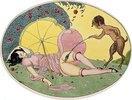 Ein Satyr und ein junges Mädchen. Illustration aus einer Folge von zwölf erotischen Aquarellen 'Les Délassements d'Eros'