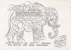 Kalligrafische Zeichnung eines Elefanten. Aus 't'Magazin oft' Pac-huys der loffelycker Penn-const' (Darstellung verschiedener Schriften und Schreibkünste). 17. Jahrhundert