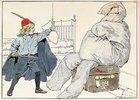 Der Ritter wehrt seinen Feind ab. Aus 'The Knight Errant of the Nursery'