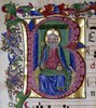 Dreifaltigkeit: Gottvater thronend, mit Reichsapfel und Zepter, dargestellt mit drei Gesichtern, in einer Initiale 'B'. Aus einem lateinischen Antiphonar