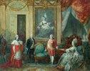 Ludwig XVI und seine Frau Marie Antoinette empfangen einen Kardinal