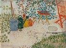 Gartenscene (Gießkannen, e. Katze, e. roter Stuhl)