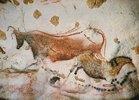 Höhle von Lascaux. Axiales Divertikel, Decke und rechte Wand: Rote Kuh und erstes 'chinesisches Pferd'. Ca. 17.000 v. Chr