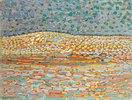 Pointillistische Studie einer Düne, mit leichter Erhebung auf der linken Seite