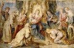 Thronende Madonna mit Kind, angebetet von acht Heiligen