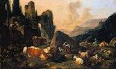 Ruinenlandschaft mit Hirten und Viehherde