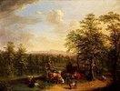 Rinder und Ziegen in pfälzischer Landschaft