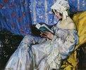 Lesendes Mädchen in einem Interieur