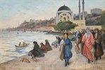 Mafalda am Ufer des Bosporus, die Dolmabahçe Moschee im Hintergrund