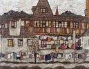 Häuser mit trocknender Wäsche