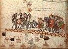 Kaufleute auf den Spuren Marco Polos. Illustration aus dem Katalanischen Atlas