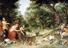 Allegorie der Elemente: Erde, Luft und Wasser. Badende Nymphen in einer Waldlichtung mit ihrer Beute