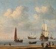 Vor Anker liegende Fleuten und Fischerboote bei Windstille