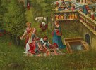 Susanna im Bade und die Steinigung der Alten. Detail: Badeszene am Brunnen