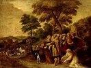 Noah und seine Familie auf dem Wege zur Arche