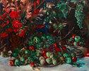 Grünes Stillleben mit Früchten und Gladiolen