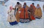 Russische Familie beim winterlichen Kirchgang
