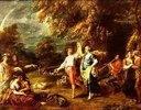 Elegante Gesellschaft beim Tanz in einer Waldlandschaft
