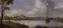 Blick von Nordosten auf den Greenwich- Palast, mit einem Kriegsschiff vor Anker