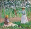 Im Garten von Giverny: Blanche Hoschedé an der Staffelei und Suzanne Hoschedé beim Lesen
