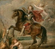 Porträt von Duke of Buckingham zu Pferde
