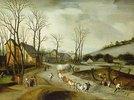 Winterlandschaft mit Gepäckzug und baumfällenden Bauern