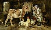 Kinder füttern ein Kalb und Hühner