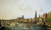 London, Themse mit York-Steps und Westminster-Abbey