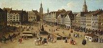 Ansicht des Marienplatzes zu München, ca. 1750. Detail