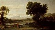 Jakob mit Laban und seinen Töchtern in einer weiten Landschaft. Nach Claude Lorrain