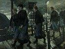 Zechenarbeiterinnen auf einer Hängebrücke