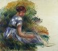 Alice Gamby im Garten, junges Mädchen im Gras sitzend