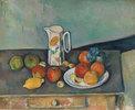 Stillleben mit Milchkrug und Früchten auf einem Tisch