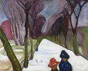 Allee im Schneegestöber