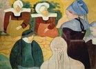 Bretonische Frauen auf einer Mauer