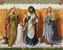 Mitteltafel: Die hll.Agnes, Bartholomäus und Cäcilia