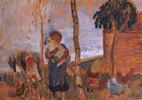 Kinder und Hühner vor Landschaft