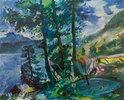 Walchensee mit Springbrunnen