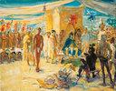 Fernando Cortez vor Kaiser Montezuma von Mexico
