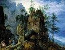 Gebirgslandschaft mit Holzfällern